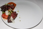 Hangar Steak - romesco, house grown tomatoes, basil