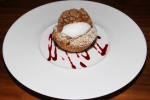 Ginger Scented Peach Crumble, Raspberry Coulis, Lemon Chantilly