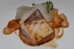 Hamachi - bread crusted maitaki kohlrabi pickled pearl onion rings sherry vinegar, chanterelles