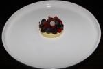 Vanilla honey cream, fresh Ontario berries, berry chips, lemone thyme, raspberry red currant purée & powder