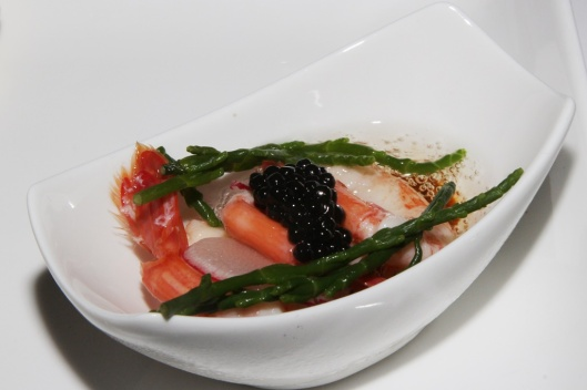 Camarones en Escabeche - escabeche of prawns with sea asparagus, avruga caviar and Cava solids