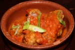 Pincho De Albondigas - chicken offal meatball with garlic and tomato sauce infused with saffron
