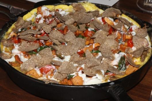Entrée - omelet goose barnacles (percebes) whelks, black truffle - blistered tomato confit, crispy brains, crème. Ned Elliott (@foreigndomestic)