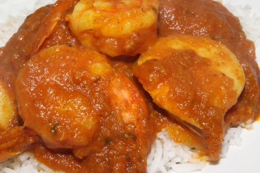 Shrimp Masala - shrimp sautéed with ginger, garlic, green pepper, onions, tomatoes $10.95