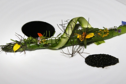 Ontario Asparagus - early garden sprouts, sturgeon caviar, squid ink aioli