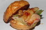 Belly Buster Sllder - roasted pork belly, cheese bun, homemade ketchup, pommes frites and pickle