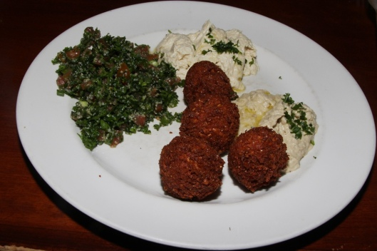 Lunch Sampler Plate - hümus, babaganüj, tabülè and falafel $10.95
