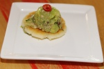 La Reina - white corn meal urepa and smoked chicken guacamole