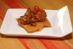 Lengua a la Veracruzana - braised beef tongue, tomatoes, capers, olive and crisp corn tortilla