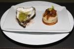 St. Simon Oyster - apple gelée, celery, horseradish;  Boudin Blanc -roasted apple chutney, toasted brioche
