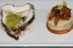 St. Simon Oyster - apple gelée, celery, horseradish;  Boudin Blanc -roasted apple chutney, toasted brioche