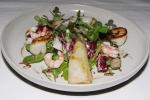 Seafood salad - wild sea scallops, calamari, pickled shrimp, lemon, chilies, basil $24