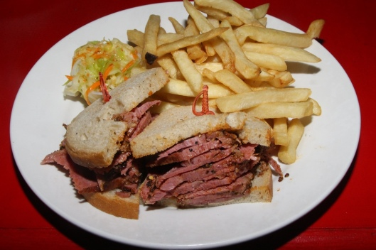 Pastrami Sandwich $9.75 (Make any sandwich a combo, and it comes with a full dill & coleslaw salad. We chose fries, and coleslaw $4.00 Hand-cut meat $0.85 Lean meat $0.75