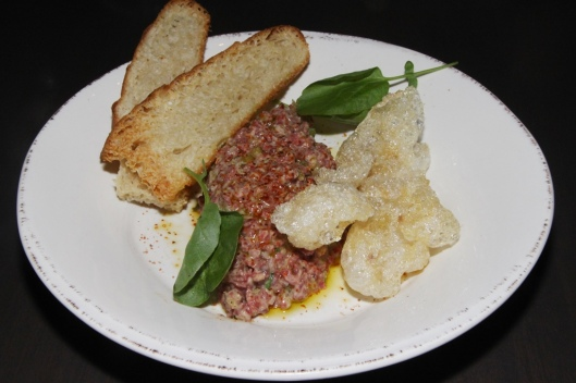 Cumbrae Farms steak tartare - puffed beef tendon, makers mark, tajin $16