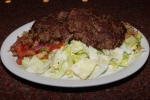 Chaplee Kabob - two round pieces of ground beef marinated in fresh grated spices. $10.49