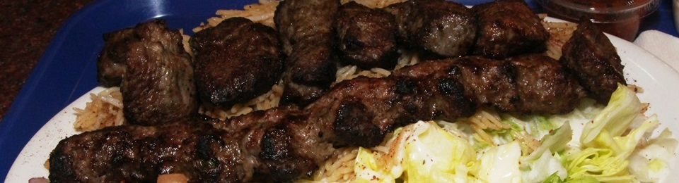 Sultani Kabob - Combination of Barg Kabob (chunks of filet mignon marinated in our seasoning) and Kofta Kabob (lean ground beef marinated in fresh grated spices and seasoning). $13.49