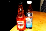 Frank's Red Hot Sauce and HP sauce
