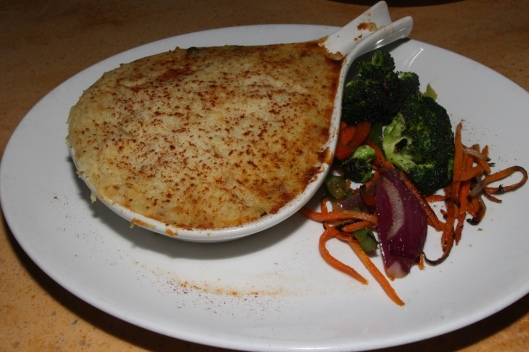 Fran's original recipe Shepherd's Pie, seasoned vegetables, beef, creamy mashed potatoes. $11.99