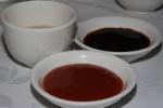 Tea, hot sauce, soy sauce