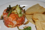 Tasmanian Ocean Trout Sashimi - fried Brussels sprouts, kimchi yogurt, pickled cucumber $17