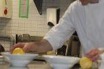 Marc peeling hollowed egg of passion fruit sorbet