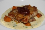 Pan seared Chicken, Soft Grits, Butternut Squash, Tomato Jam