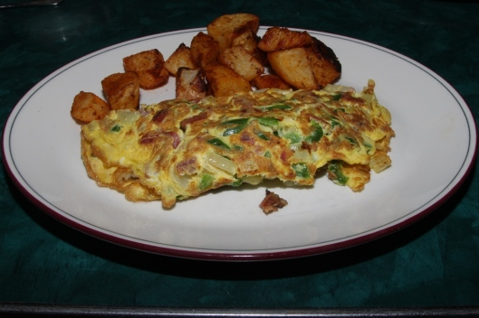 western omelette, home fries, or sliced tomatoes, or fresh fruit salad, toast or bagel, coffee or tea. $10.95