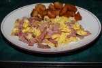 3 eggs any style, grilled smoked meat or salami, 5 oz. freshly squeezed juice, toast or bagel, coffee. $12.95