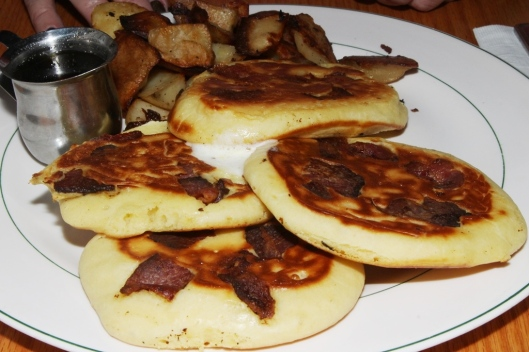 Buttermilk pancakes with bacon, whipped butter, real maple syrup $8.50 french fries $3.50