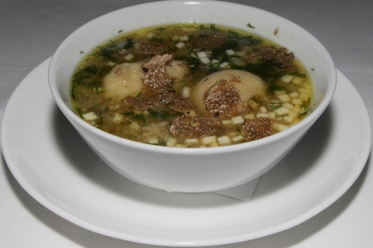 matzo ball soup - chicken broth, parmigiano, shaved Perigord truffles $13