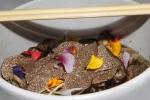 japchae noodles - wild mushroom, dashi, shaved black truffle $19