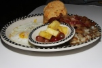 the standard - 2 sunny eggs, home fries, butcher's crack, cheddar chive biscuit and fresh fruit cup $10.00/ add egg +$2.00 (early bird special 5 am to 9 am daily! 8 bucks)