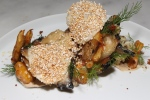 winter vegetables fresh cheese and black garlic $14