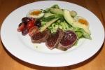 Seared Ahi tuna green beans, egg, cherry tomato, olives, avocado, bibb lettuce $14