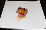 Shimaaji, (Striped Horsemackerel) sashimi and tartare, cara cara orange, Tardivo, sake, yuzu, olive oil, shiso