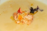 Daily soup leek and potato, Nova Scotia lobster (priced accordingly) ($16)