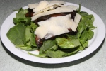 warm portobello mushroom salad with spinach, balsamic vinegar and shaved parmesan $10