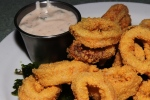 cornmeal fried calamari with chipotle tzatziki $10