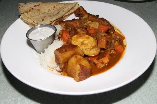 hot chicken curry with plantain, okra, yam and dahl puri roti basmati rice $17